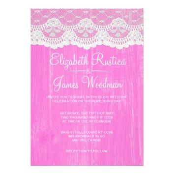 Hot Pink Rustic Lace Barn Wood Wedding Invitations
