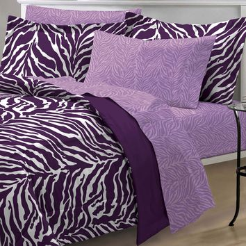 Purple Zebra Bedding Set Animal Print Comforter and Sheets