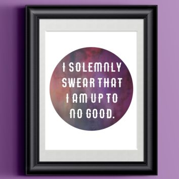 Watercolor Harry Potter Quote | I Solemnly Swear Home Print Poster | Wall Decor