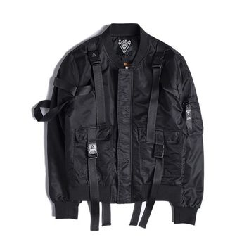 Men Fashion Strap  Flying Bomber Thick Jacket Male O-neck Spliced Patch Punk Rock Style Street Outwear