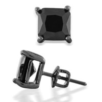 Fathers Day Gifts Bling Jewelry Black Square CZ 925 Sterling Silver Screw Back Post Stud Earrings 6mm