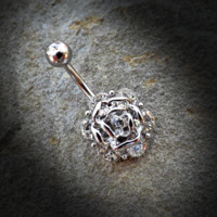 Flower with Gems Belly Ring 14ga 316L Surgical Steel Body Jewelry Navel Ring