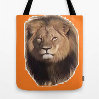 Cecil the Lion Tote Bag Save the Lions Tote Bag Lion Tote Bag Orange Tote Bag I Love Cecil Tote Bag Save the Endangered Lions Bag Peace Love
