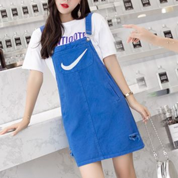 NIKE Summer new fashion embroidery hook hole strap dress strap dress Blue