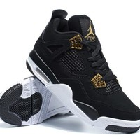 Air JORDAN 4 Basketball Shoes Low Top Sneakers Unisex Black Gold Jordan 4