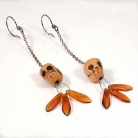 Carved Bone Skull and Glass Petal Earrings Sterling by WoobieLove