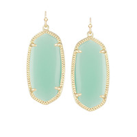 Kendra Scott Elle Chalcedony Mint Green Glass Earrings 14K Gold Plated
