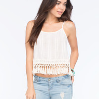 Blu Pepper Fringe Bottom Womens Tank Ivory  In Sizes