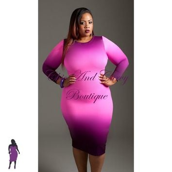 . New Plus Size . BodyCon in Pink to Purple Ombre Print 1X 2X 3X