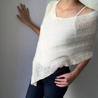 Loose knit poncho, ivory knit poncho, hand knit women wrap, acrylic and wool poncho, trendy wear, spring shawl, winter top