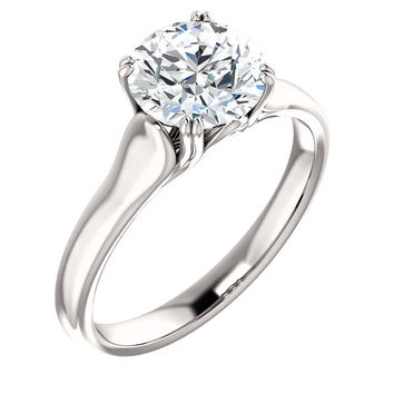 Prong setting 1.51 carat round brilliant diamond solitaire ring gold white 14K