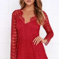 Always Amazing Wine Red Lace Romper