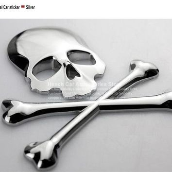 Car Motorcycle Sticker 3D 3M Skull Metal Skeleton Crossbones Label Skull Emblem Badge car styling Stickers Accessories - Silver