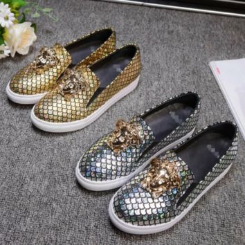 Versace Fashion new more sequin couple shoes flat white shoes round head casual heighten shoes two color