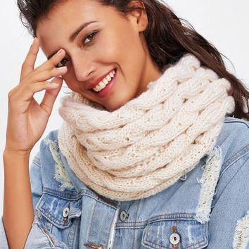 Crochet knitted double infinity scarf