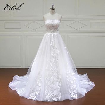 Eslieb 100% Real Photos Luxury Wedding Dresses Royal Train Lace Appliques Off the Shoulder Wedding Dress 2018 Vestido