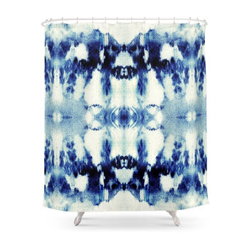 Society6 Tie Dye Blues Shower Curtains