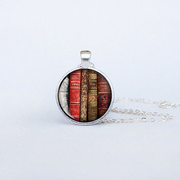 Books pendant Antique books necklace librarian gift bookworm jewelry teacher's gift reading addict birthday gift key ring cs152