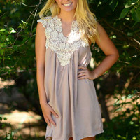 Lace to the Finish Dress - Light Taupe