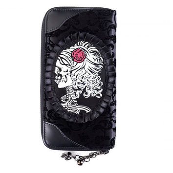 Banned Black Flocked Cameo Skull Lady Rose Gothic Zip Around Wallet