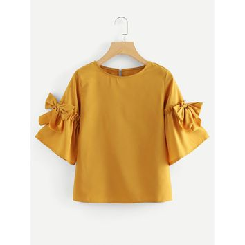 Ginger Round Neck Half Sleeve Blouse