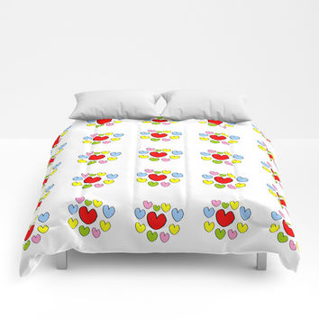 heart 3-heart,love,romantism,girl,sweet, women,romantic,cute,beauty,multicolor Comforters by oldking