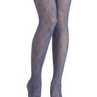 ModCloth Go Fig-ure Tights in Blue