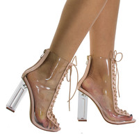 Posh1 Nude by Liliana, Nude clear translucent transparent lace up peep toe ankle bootie w Perspex block heel