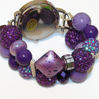 Royal Purple Chunky Beaded Watch - Interchangeable Watch - Beaded Watch - Bracelet Watch - BeadsnTime - Stocking Stuffer - Unique Gift