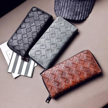 (1Pcs/Sell) PU Weave Pattern Grid Womens Wallets & Purses High Quality Wallet Women Luxury Brand Famous Brands 2017 New