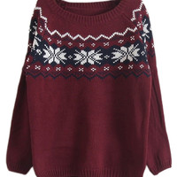 ROMWE | ROMWE Christmas Sweater Snowflakes Knitted Long Sleeves Red Jumper, The Latest Street Fashion