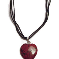 Heart Pendant of Dark Red Jasper Stone with Black Cotton Cord
