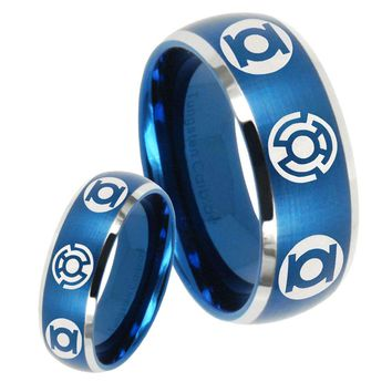 His Hers Green Blue Lantern Dome Brushed Blue 2 Tone Tungsten Men's Ring Set