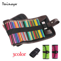 3Color 48 Holes Canvas Roll Pouch Makeup Comestic Brush Pen Storage pecncil box School Pencil Case Material Escolar Art Supplies