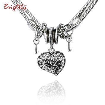 Brightly Vintage Love Heart Keys Charms Pendant Necklace for Women Jewelry Punk Style Collares mujer kolye Valentine's Day Gift