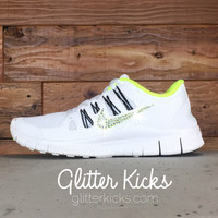 Women's Nike Free 5.0+ Running Shoes By Glitter Kicks - Hand Customized With Swarovski Crystal Rhinestones - White/Yellow/Black
