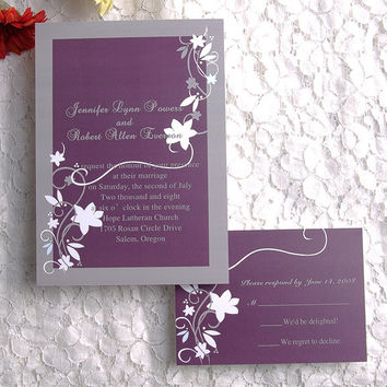 Purple Wedding Invitations, Printable, Rustic Wedding Invitation for Fall, Country Style, Free Personalized, Floral Wedding Invites EWI001