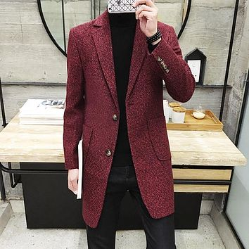 High Quality Men's Clothing Brand Slim Fit Trench Long Coat / Man Casual Solid Color Turn-down Collar Wool & Blends Overcoat