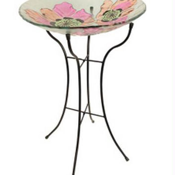 Bird Bath Feeder - Pink Poppy Flowers