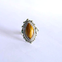 Tiger eye ring,  stone ring, silver ring, silver tiger eye ring, 92.5 sterling silver, tiger eye Silver Ring,  RNSL207