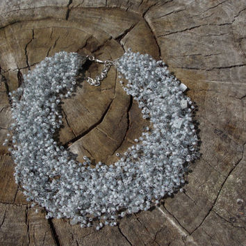 FREE SHIPPING Grey Necklace multistrand necklace seed Beads necklace air necklacemix velvet choker beadwork gift for her gift idea