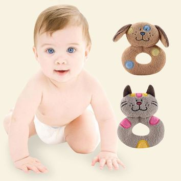 Funny Baby Rattles Infants Kids Dogs and cats Soft Plush Baby Hand Bells Exercise the brain Educational Doll Toy  n# dropship