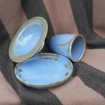 My Plate Ceramic Wheel Thrown Plate Bowl Cup Set Speckled Blue WithBrown Rims Soup Sandwich