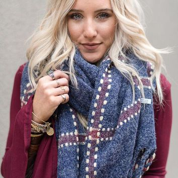 Wrap It Plaid Blanket Scarf - Navy