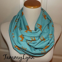 Fawn Deer Silhouette on Dusty Turquoise Infinity Scarf Pre teen Adult Cotton Jersey Blend Ready to Ship!