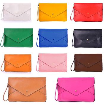 Women Envelope Clutch Bag Briefcase PU Leather