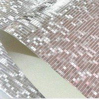 Luxury Gold Foil Mosaic Background Flicker Wall Paper Modern Roll/hotel Ceiling/decorative Wallpaper Roll Silver Colour