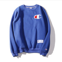Champion Autumn and winter embroidery small lovers sweater plus velvet thickening Blue color