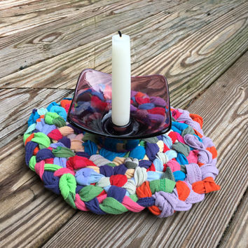 Multi-colored Rag Rug Trivet, Funky Boho Home Accessory made of Upcycled Tshirts, Rustic Home, Eclectic Home Accent Colorful Pot Mat Hot Pad