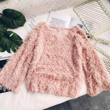 Shaggy Bell Sleeve Short Sweater - 5 Colors